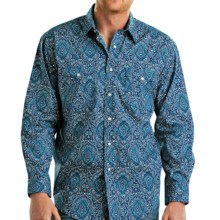Rough Stock Rodin Vintage Print Western Shirt - Button Front, Long Sleeve (For Men) in Turquoise - Closeouts