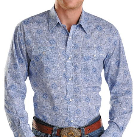 Rough Stock Sienna Vintage Print Western Shirt - Snap Front, Long Sleeve (For Men) in Aqua