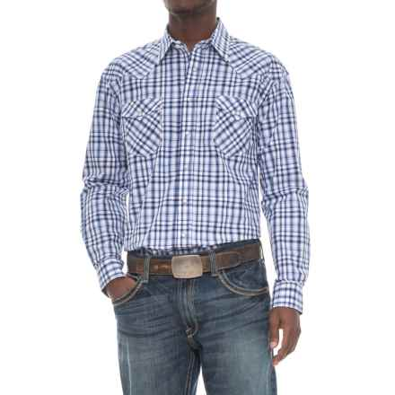 Rough Stock Vintage Plaid Shirt - Snap Front, Long Sleeve (For Men) in Navy - Overstock
