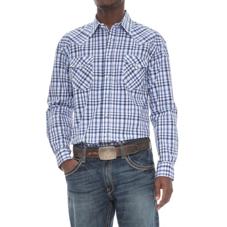 Rough Stock Vintage Plaid Shirt - Snap Front, Long Sleeve (For Men) in Navy