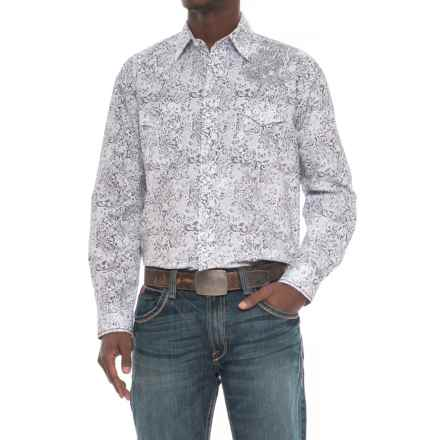 Rough Stock Vintage Print Shirt - Snap Front, Long Sleeve (For Men) in White/Grey - Overstock