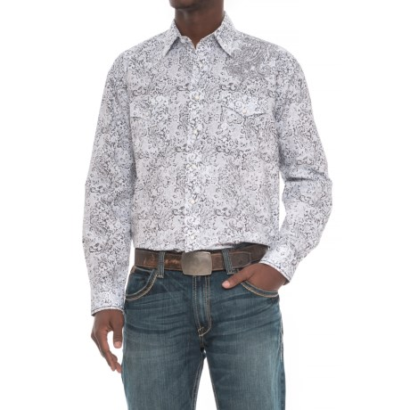 Rough Stock Vintage Print Shirt - Snap Front, Long Sleeve (For Men) in White/Grey