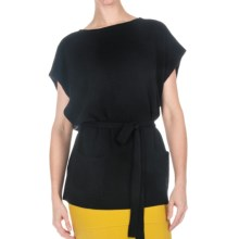 Round Neck Belted Sweater - Lambswool, Short Dolman Sleeve (For Women) in Black - 2nds