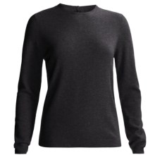 Round Neck Cashmere Sweater (For Women) in Charcoal - Closeouts