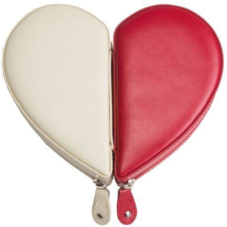 Rowallan Juliette Heart Jewelry Box - Leather in Red/Winter White