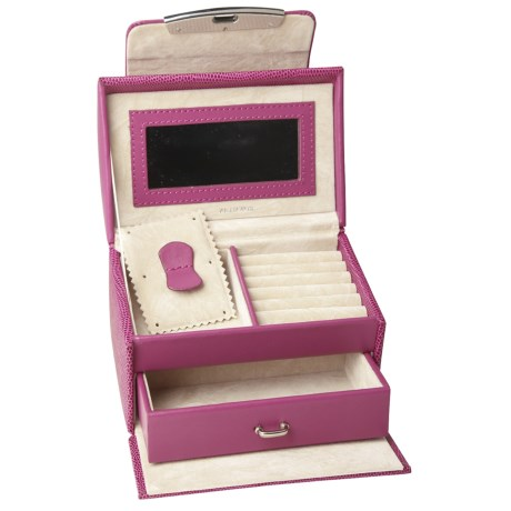 Rowallan Miranda Jewelry Box - Leather in Raspberry