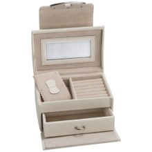 Rowallan Miranda Jewelry Box - Leather in Winter White - Closeouts