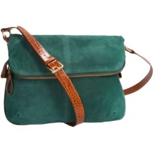 Rowallan of Scotland Italian Suede Leather Purse - Faux-Crocodile Trim (For Women) in Teal - Closeouts