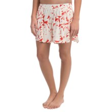 Roxy Act Nice Shorts (For Women) in Fiery Orange Shelter - Closeouts
