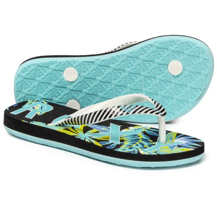 d4bc4584d40520 Roxy Bubbles II Flip-Flops (For Girls) in Black Turk Blue -