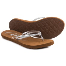 Roxy Cabo Flip-Flops (For Women) in Silver - Closeouts