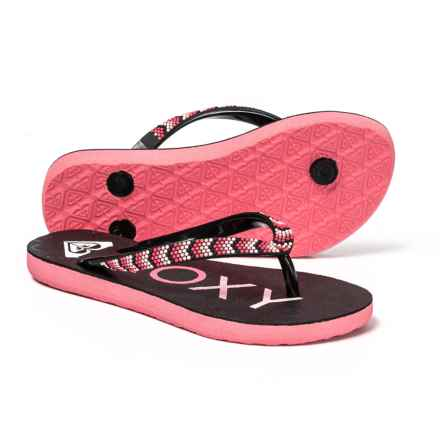 4058c776e Roxy Crush Flip-Flops (For Girls) in Black Pink - Closeouts