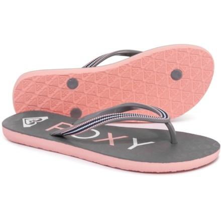 bd9fc67816d109 Roxy Crush III Flip-Flops (For Women) in Grey Light Pink