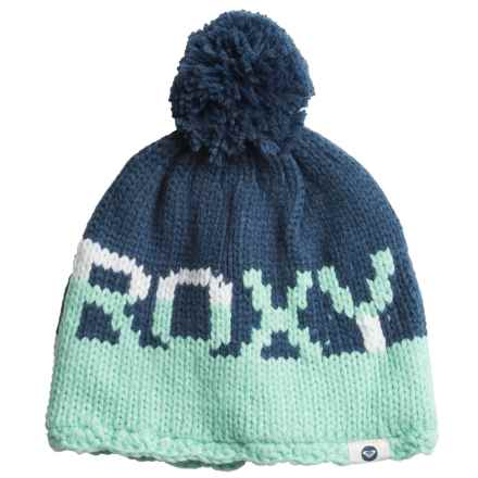 Roxy Fjord Pompom Beanie - Fleece Lined (For Women) in Ensign Blue - Closeouts