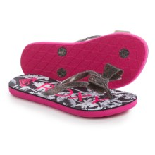 Roxy Girl Lulu II Flip-Flops (For Little and Big Girls) in Black/White - Closeouts