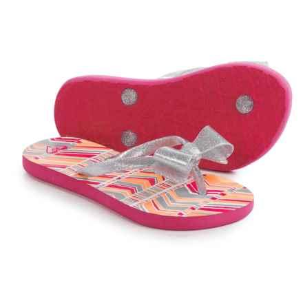 Roxy Girl Lulu II Flip-Flops (For Little and Big Girls) in Pink Stripe - Closeouts