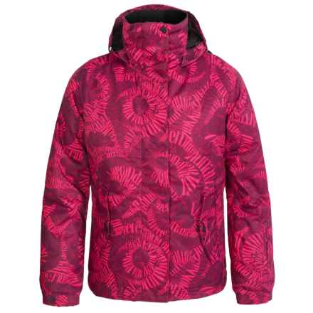 Roxy Jetty Girl Ski Jacket - Waterproof (For Big Girls) in Typoswirl Magenta Purple - Closeouts