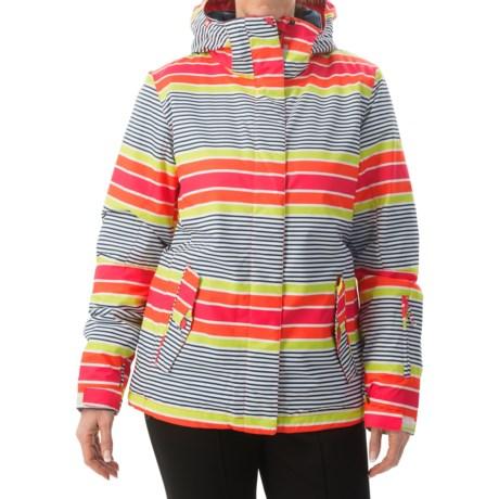 Roxy Jetty Snowboard Jacket - Waterproof, Insulated (For Women) in Sail Away/Limeade
