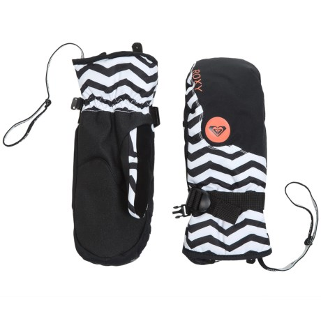 Roxy Jetty Snowboard Mittens - Waterproof, Insulated (For Women) in Zig Zag Stripe/Anthracite
