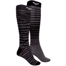 Roxy Logo Athletic Rib Knee-High Socks - 2-Pack, Over the Calf (For Women) in Black/Zebra - Closeouts