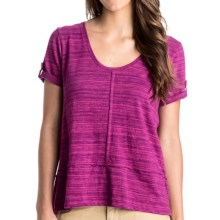 Roxy Malibu Lagoon Striped Shirt - Short Sleeve (For Women) in Very Berry - Closeouts
