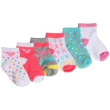 Roxy Quarter Socks - 6-Pack, Quarter Crew (For Infant Girls) in Pink Dots/Stripes - Closeouts
