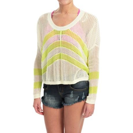 Roxy Rocky Point Stripe Crop Sweater (For Women) in Warm White