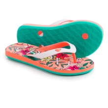 Roxy Tahiti Flip-Flops (For Little and Big Girls) in Coral - Closeouts