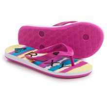 Roxy Tahiti Flip-Flops (For Little and Big Girls) in Fuchsia - Closeouts
