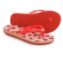Roxy Tahiti Flip-Flops (For Little and Big Girls) in Watermelon - Closeouts