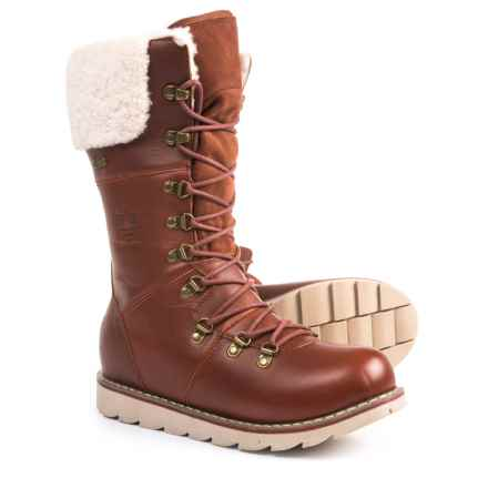 Royal Canadian Louise Tall Leather and Shearling Winter Boots - Waterproof, Insulated (For Women) in Cognac - Closeouts