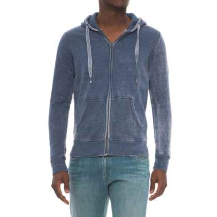 Royal Premium Washed Full-Zip Hoodie (For Men) in Blue - Overstock