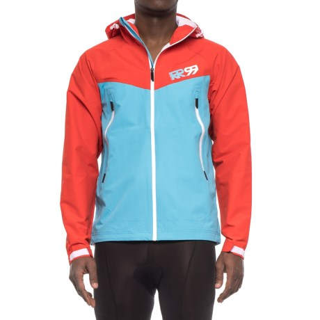 Royal Racing Matrix Hooded Cycling Jacket - Waterproof (For Men) in Cyan/Red