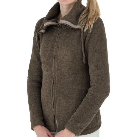 Royal Robbins Chenille Zip-Up Jacket - Cowl Neck, Long Sleeve (For Women) in Light Olive