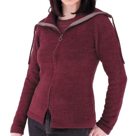 Royal Robbins Chenille Zip-Up Jacket - Cowl Neck, Long Sleeve (For Women) in Port
