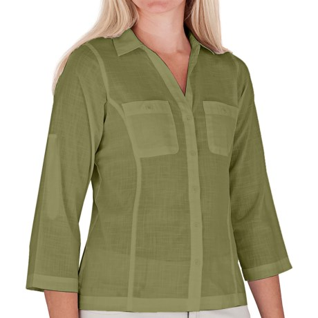 Royal Robbins Convertible Camp Shirt - Roll-Up 3/4 Sleeve (For Women) in White
