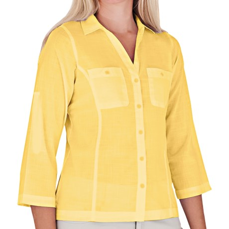 Royal Robbins Convertible Camp Shirt - Roll-Up 3/4 Sleeve (For Women) in Dark Daffodill
