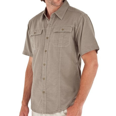 Royal Robbins Cool Mesh Baja Cotton Shirt - UPF 35+, Short Sleeve (For Men) in Light Taupe