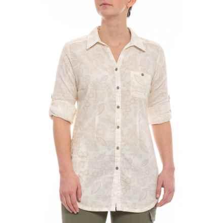 Royal Robbins Cool Mesh Eco Tunic Shirt - Organic Cotton, Long Sleeve (For Women) in Creme Print - Closeouts
