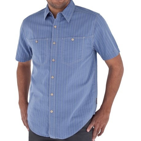 Royal Robbins Cool Mesh Stripe Shirt - Short Sleeve (For Men) in Sky Blue