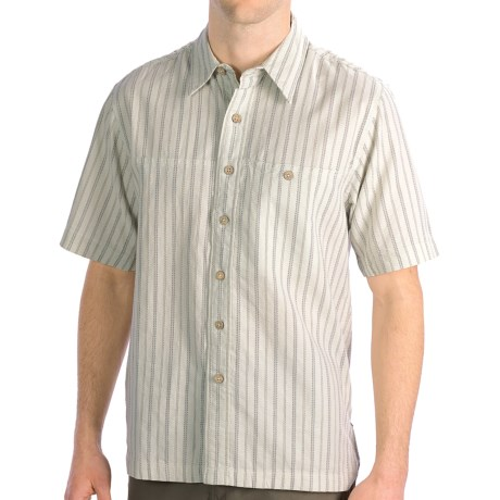 Royal Robbins Cool Mesh Stripe Shirt - Short Sleeve (For Men) in Soapstone