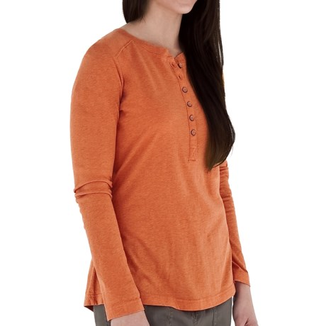 Royal Robbins Cottonwood Henley Shirt - Long Sleeve (For Women) in Orange Pepper