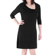 Royal Robbins Enroute Dress - UPF 50+, Cowl V-Neck, 3/4 Sleeve (For Women) in Jet Black - Closeouts