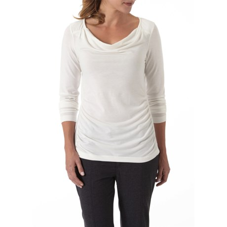 Royal Robbins Essential Cowl Neck Shirt - UPF 50+, TENCEL® Stretch Jersey, Long Sleeve (For Women) in Creme