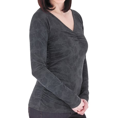 Royal Robbins Essential Printed Ruched Shirt - UPF 50+, Stretch Jersey, Long Sleeve (For Women) in Charcoal