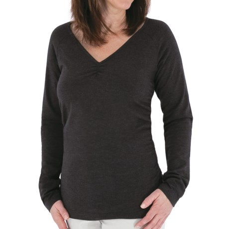 Royal Robbins Essential Ruched Shirt - UPF 50+, Long Sleeve (For Women) in Charcoal