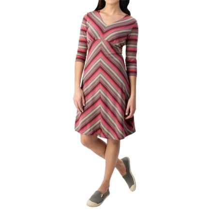 Royal Robbins Essential TENCEL® Stripe Dress - Long Sleeve (For Women) in Dixie Rose - Closeouts