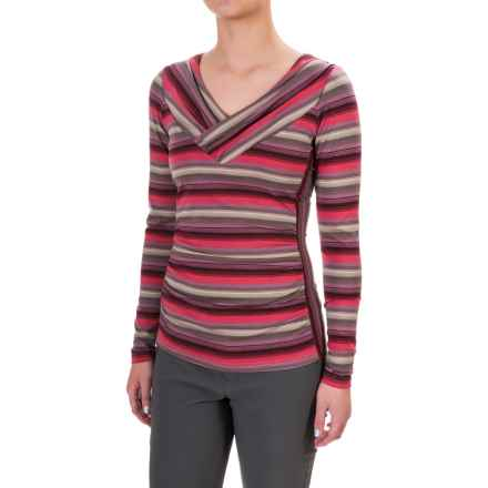 Royal Robbins Essential TENCEL® Striped V-Neck Shirt - UPF 50+, Long Sleeve (For Women) in Dixie Rose - Closeouts