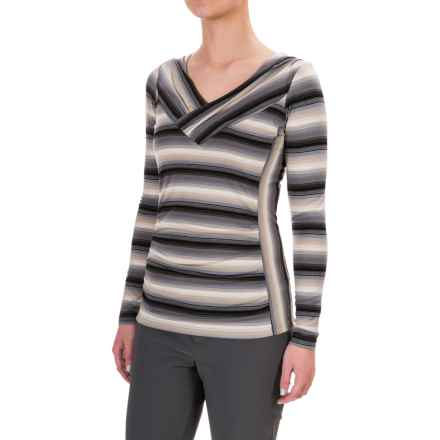 Royal Robbins Essential TENCEL® Striped V-Neck Shirt - UPF 50+, Long Sleeve (For Women) in Pewter - Closeouts