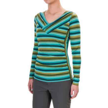 Royal Robbins Essential TENCEL® Striped V-Neck Shirt - UPF 50+, Long Sleeve (For Women) in Pine Needle - Closeouts